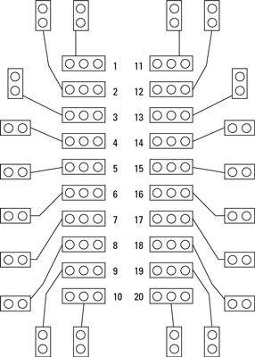 The layout for the PCB used in the coin-toss circuit.