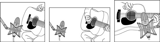 Positioning the mic in these ways can produce a good acoustic-instrument sound.