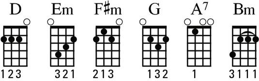 Diagram of the D chord family.