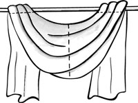 5Hang The Ends Of Your Fabric Over Each End Of The Rod And Pin The Swirls  And Folds You Like Into Place.