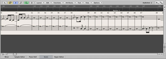 The Score menu shows you your MIDI data in musical score form and allows you to edit them.