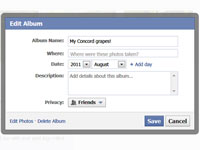 Facebook Edit Photo Album window, where users can add information about the album: name, date and description, among other things.