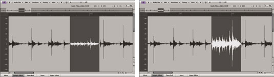 Choosing a quiet section of a song and normalizing it alters the dynamic range of the music.