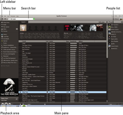 Spotify on a PC.