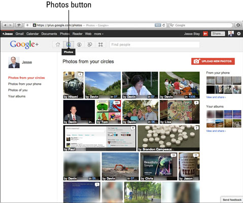 You can access the photos page in Google+ via the Photos icon.