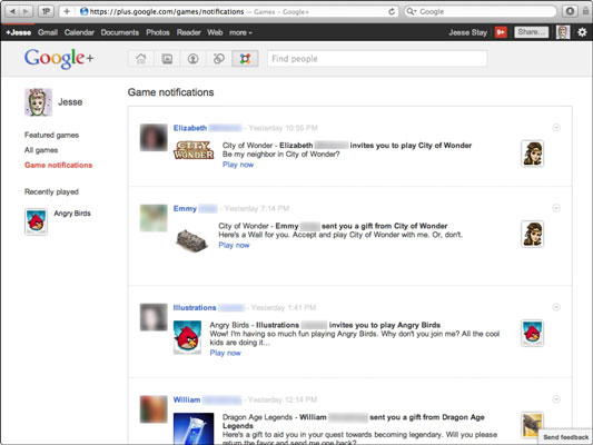The Google+ Game Notifications page.