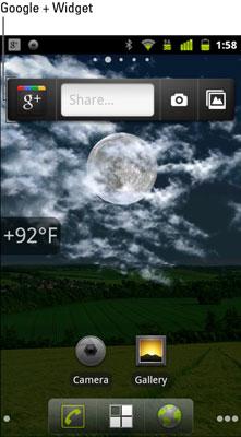 The Google+ widget on a Nexus 3 device (near top of screen).