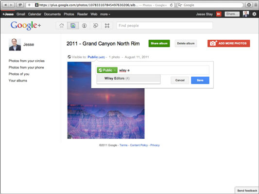Setting privacy settings for your albums in Google+.