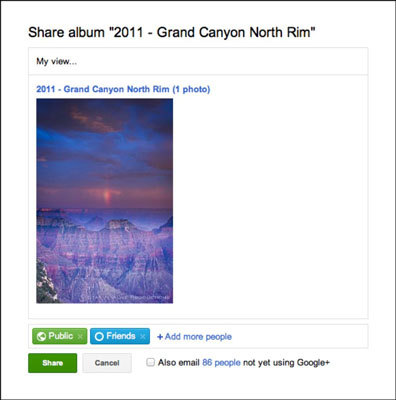 Sharing photo albums to your stream.
