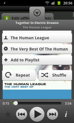 Track information and playback on Android.