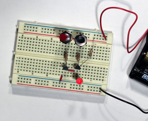 electronics projects how to create a transistor nand gate circuita two transistor nand gate on a breadboard