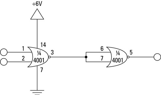 A NAND gate circuit that uses a CMOS logic chip.