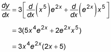 Process of differentiating a function by using the Product Rule