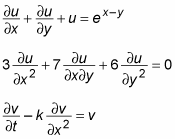 Several differential equations with at least one partial derivative