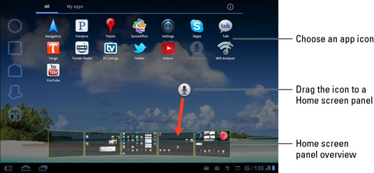 How to Add Apps to the Galaxy Tab Home Screen - dummies