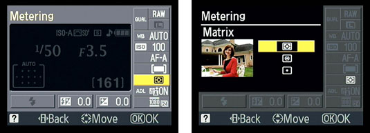 Selecting a metering mode in the Canon D3100 through the Quick Settings display.