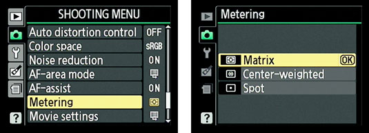 Using the Nikon 3100 Shooting Menu to select the metering mode.