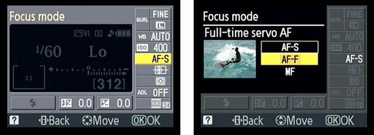 The Focus Mode menu in the Nikon D3100 camera.