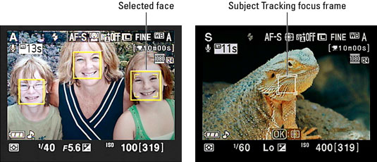 Nikon's display screen with two focusing frames: face priority and subject tracking.