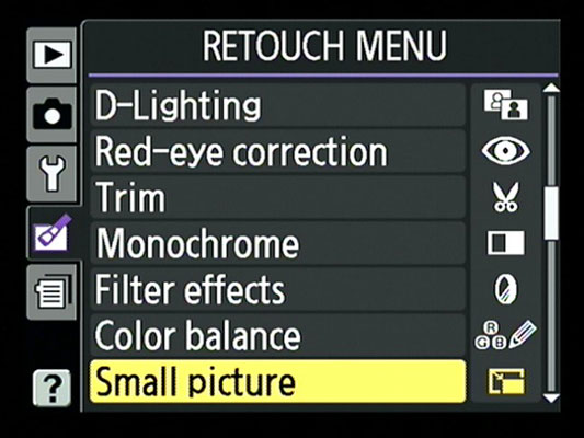 The Retouch menu in a Nikon 3100