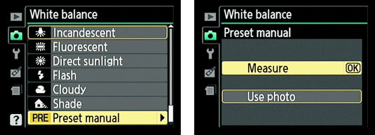 The White Balance settings tab in a Nikon's shooting menu.