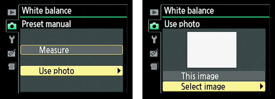 Selecting a photo to set the white balance in a Nikon Camera