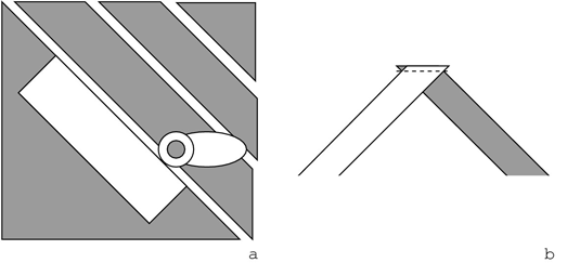 You can make bias binding by cutting strips on a diagonal (a) and then sewing them together (b).