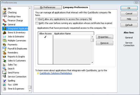 The Integrated Applications Preferences tab in Quickbooks' Preferences.
