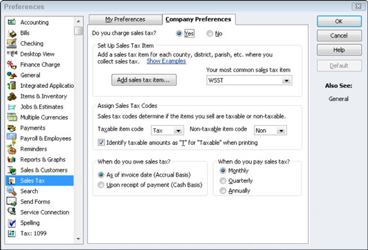 Sales Tax Preferences in QuickBooks 2012.