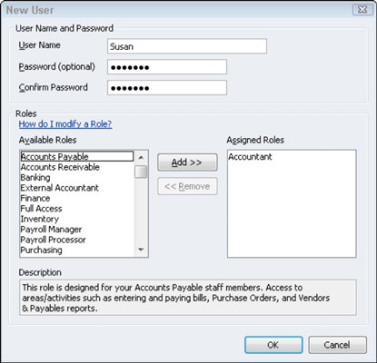 The New User dialog Box in QuickBooks.