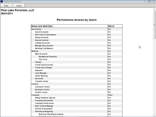 A list of permissions access in QuickBooks.