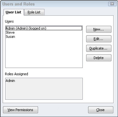 The Set Up User Password and Access dialog box in QuickBooks.