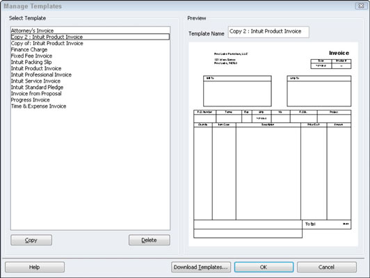 Choose A QuickBooks Invoice Template To Customize Dummies - Quickbooks invoice example