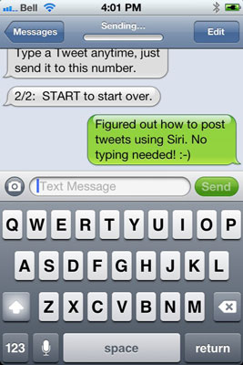 Follow the instructions to set up Twitter by SMS (text message).