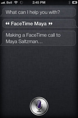 Tell Siri the person you'd like to FaceTime with, and the call is made.