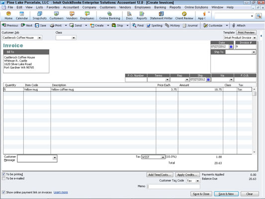 A blank invoice in QuickBooks.
