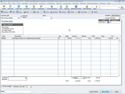 A blank estimate in QuickBooks.
