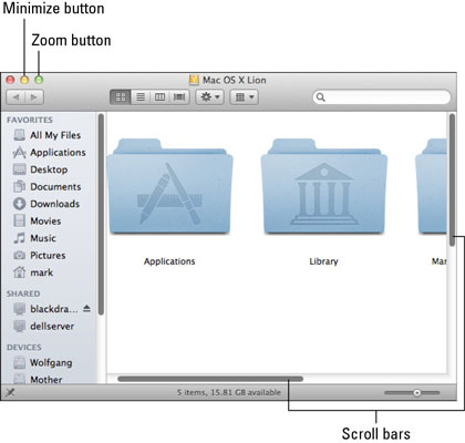 You can use the scroll bars to boldly go — well — anywhere in a window.