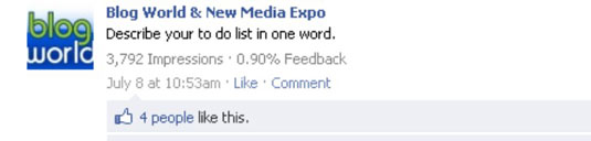 Facebook post by Blog World & New Media Expo.