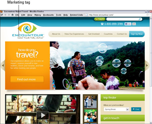 The marketing tag is one of several attention-grabbers on Encountour. [Credit: Courtesy ofEnc