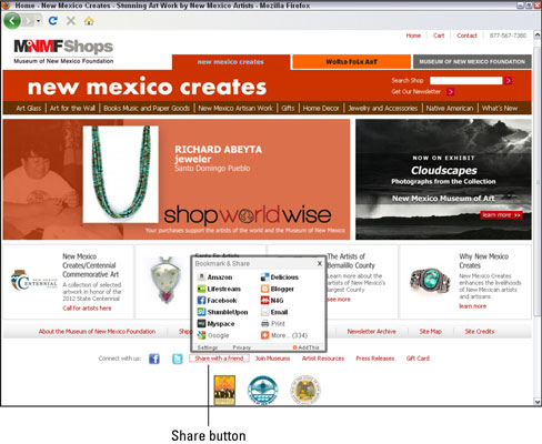 New Mexico Creates invites visitors to share each of its web pages with an expandable Share button.