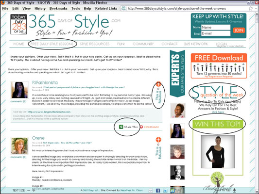 365 Days of Style incorporates many features designed to build repeat traffic. [Credit: Courtesy of