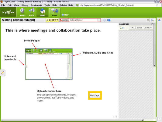 [Credit: Courtesy of vyew.com — continuous meeting rooms, real-time and asynchronous]
