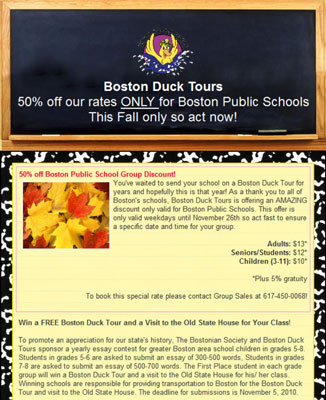 Boston Duck Tours uses its newsletters to offer special discounts to various segments of its mailin