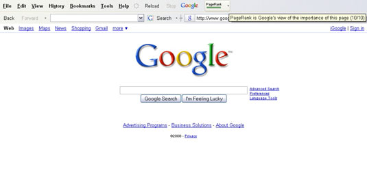 Google Toolbar shows PageRank in both graphics and text. Ranking is by page, not by site. [Credit: