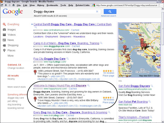 Happy Hound's PPC ad on Google lands on their home page. [Credit: Courtesy of Happy Hound Pla