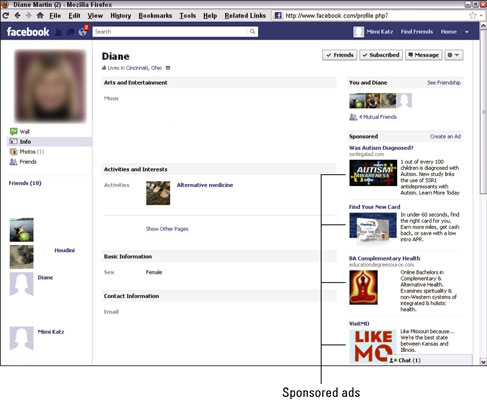 Facebook ads on the right use a PPC bidding model to combine an image and some text. [Credit: Court
