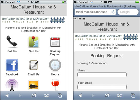The primary MacCallum House website, pared for mobile use. [Credit: Courtesy of www.maccallumhouse.