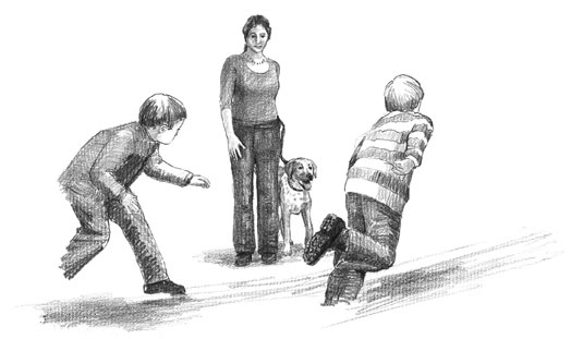 Stage setups to curb your puppy's impulse to chase. [Credit: Illustration by Barbara Frake]