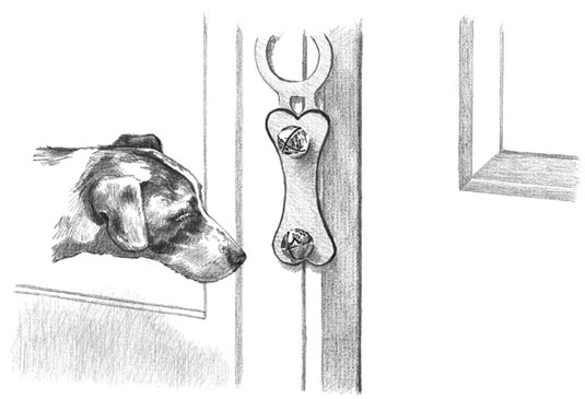 Teaching your puppy to ring a bell when she needs to go out is easier than you think. [Credit: Illu